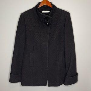 Ricki's black textured wool blend lined pea coat cuffed sleeves & pockets L